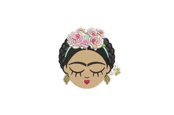 Mexican Girl Face - Machine Embroidery File design - 5x7 hoop - Embroidery Patch Embroidery