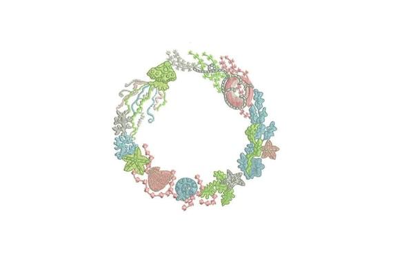 Machine Embroidery Buoy Sea Creatures Wreath Flowers Bohemian Machine Embroidery File design 5x7 hoop
