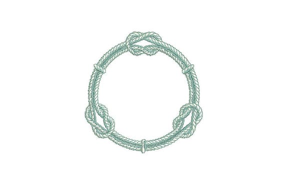 Knot Rope Nautical Machine Embroidery File design 4x4 inch hoop - Monogram Frame