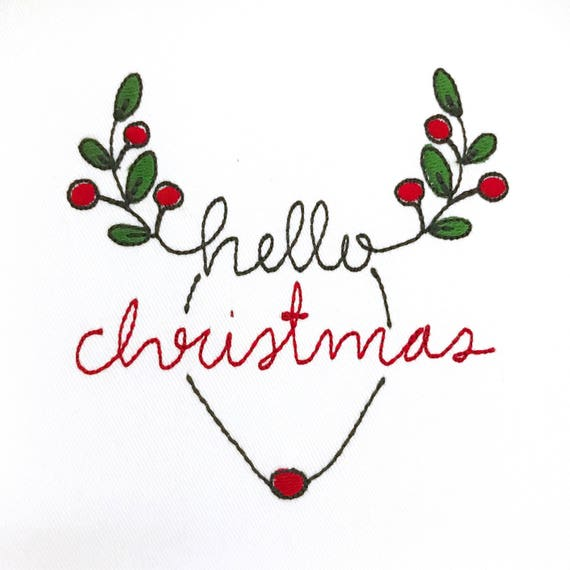Hello Christmas Rudolph Reindeer Deer Silhouette Machine Embroidery File design 4x4 inch hoop