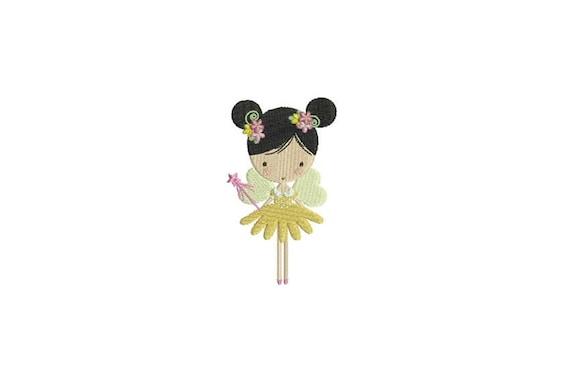 Flower Fairy Doll Machine Embroidery File design 4x4 inch hoop - Flower Fairy 2