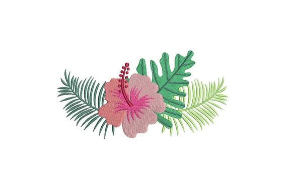 Tropical Hibiscus Flower Arrangement Machine Embroidery File design 5x7 inch hoop