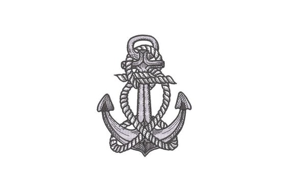 Anchor Rope Nautical Machine Embroidery File design 5x7inch hoop