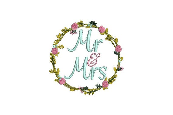 Mr & Mrs Wreath Machine Embroidery File design -  5x7 inch hoop -  Wedding Embroidery Design