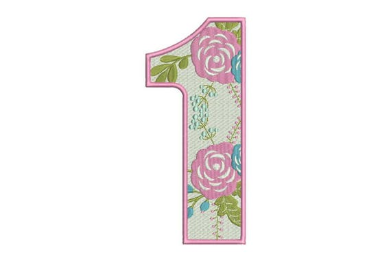 Number 1 embroidery - ONE - Floral - First Birthday-  Machine Embroidery File design - 5x7 hoop - embroidery design