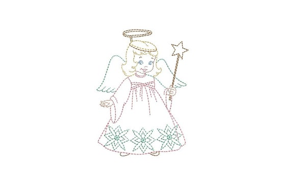 Vintage Xmas Colorwork Angel - Machine Embroidery File design - 4x4 inch hoop - instant download