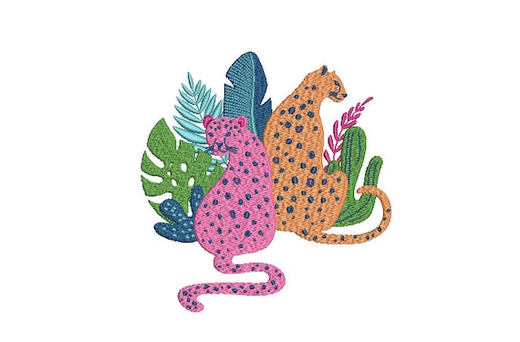Leopards And Tropical Plants Machine Embroidery File design - 6x10 inch hoop - Leopard Design - instant download