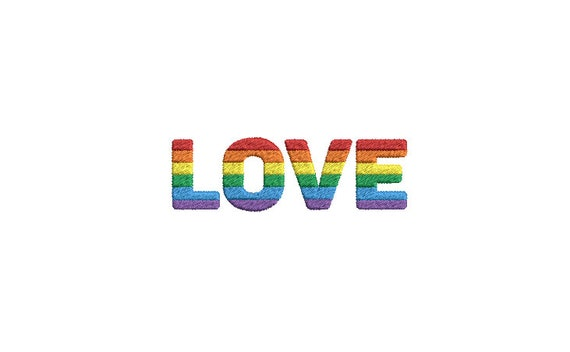 Rainbow LOVE  Machine Embroidery File design - 4x4 inch - Rainbow Embroidery