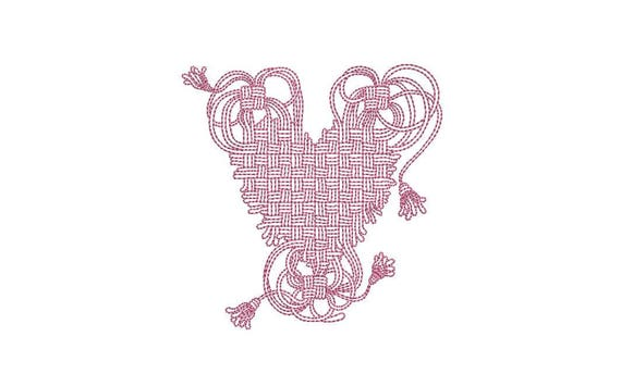 Woven Macrame Folksy Heart Machine Embroidery File design 4 x 4 inch hoop - instant download