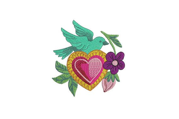 Whimsical Bird & Heart Mexican Folksy Machine Embroidery File design 5 x 7 inch hoop - instant download