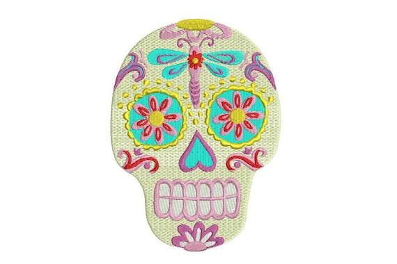 Skull Embroidery - Machine Embroidery Boho Gypsy Mexican Sugar Skull Bohemian Machine Embroidery File design 5x7 hoop