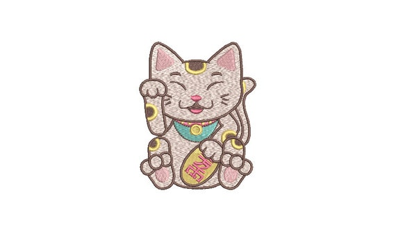 Chinoiserie Chic - Lucky Cat - Machine Embroidery File design  - 4x4 hoop - Lunar New Year