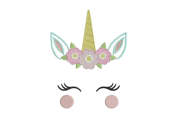 Unicorn Embroidery Design - Unicorn Face Flowers Machine Embroidery File design -  5x7 inch hoop - oopsidaisi instant download