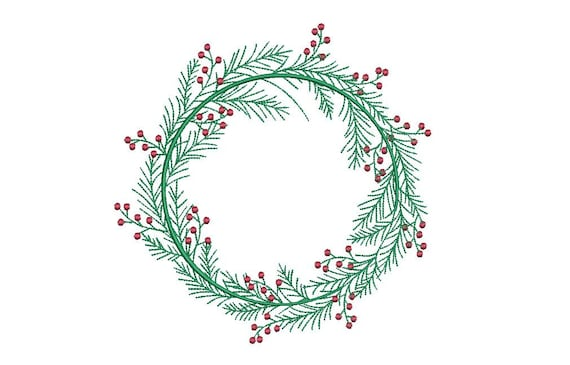 Christmas Holly Wreath Embroidery - Machine Embroidery File - design 5x7 inch hoop - Monogram frame