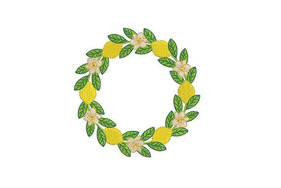 Lemon Wreath - Machine Embroidery File design - 4 x 4 inch hoop - Monogram Frame