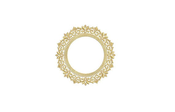 Vintage Gold Lace Machine Embroidery File design 4x4 inch hoop - Monogram Frame