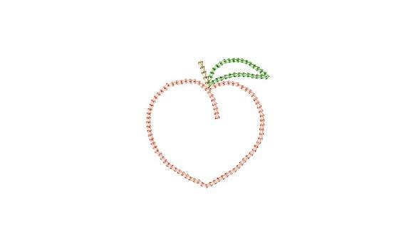 Chain Stitch Peach - Machine Embroidery File design - 4x4 inch hoop - Monogram Frame - Chainstitch Embroidery Design
