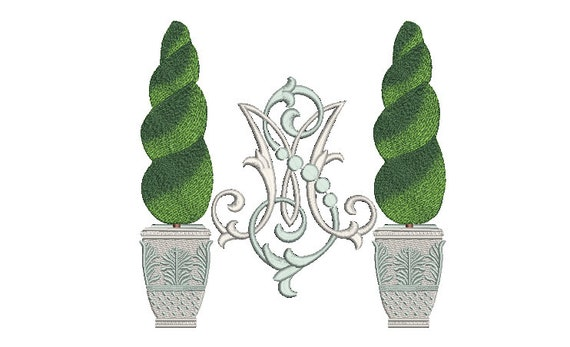 Topiary Monogram Frame - Machine Embroidery File design - 8 x 8 inch hoop - monogram Frame - Instant download