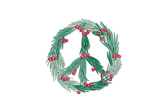 Peace Xmas Holly Wreath Embroidery - Machine Embroidery File - design 5x7 inch hoop - Monogram frame - Christmas Embroidery Design