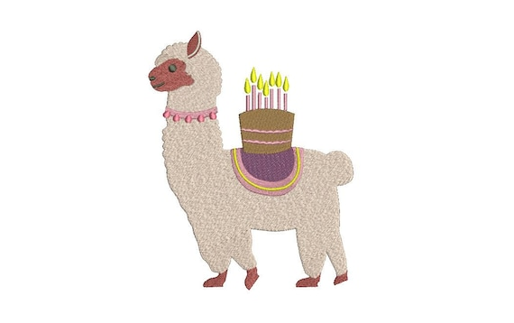 Llama Alpaca Birthday Cake Machine Embroidery File design 5x7 inch hoop - instant doenload