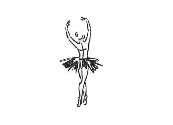 Ballerina Ballet Dancer Sketch Machine Embroidery File design 4x4 hoop - Redwork