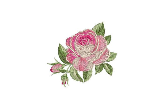 Pink Shabby Rose Machine Embroidery File design 4 x 4 inch hoop - Vintage Rose
