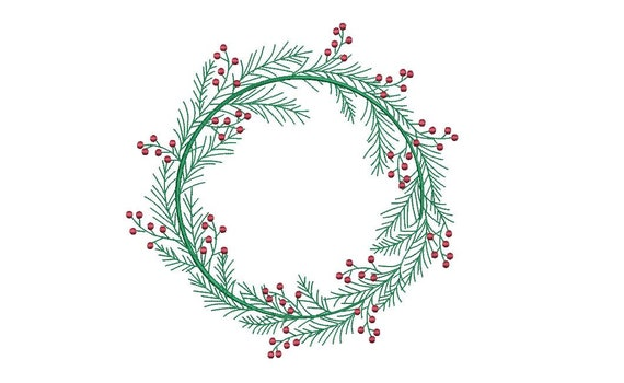 Christmas Holly Wreath Embroidery - Machine Embroidery File - design 8x8 inch hoop - Monogram frame