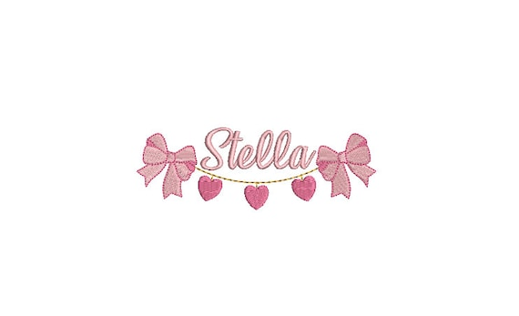 Heart Bow Swag Machine Embroidery File design - 5x7 inch hoop - Bow Embroidery Design