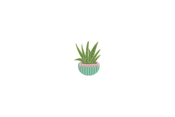 Kawaii Succulent Plant Machine Embroidery File design 4 x 4 inch hoop Makes a great Patch