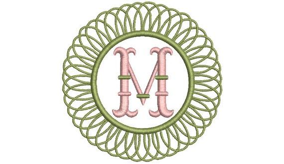 Round Bamboo Monogram Frame -  Machine Embroidery File design -  4x4 hoop - Round Border Frame