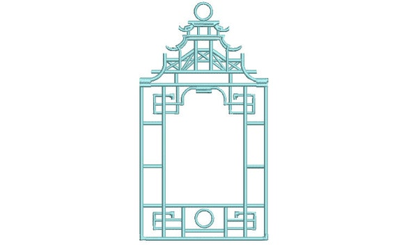 Chinoiserie Chic - Monogram - Temple Big Pagoda Frame - Machine Embroidery File design 7x12 inch hoop