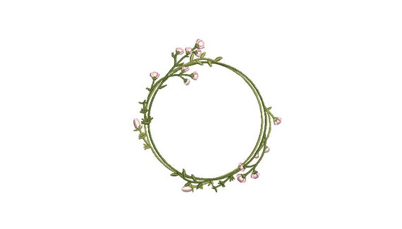 Pink Flower Circle Wreath- Machine Embroidery File design - 4x4 inch hoop - monogram Frame - Instant download