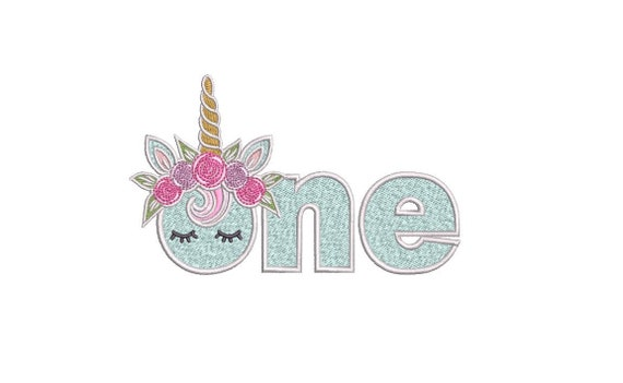 ONE Unicorn word First Birthday - Portrait- Machine Embroidery File design - 5x7 hoop - embroidery design