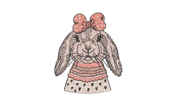 Machine Embroidery Bunny With Bow-  Embroidery File design - 4x4 inch hoop - Easter Embroidery Design