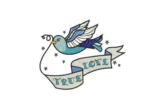 True Love Swallow Bird Tattoo Retro Machine Embroidery File design 6 x 10 inch hoop