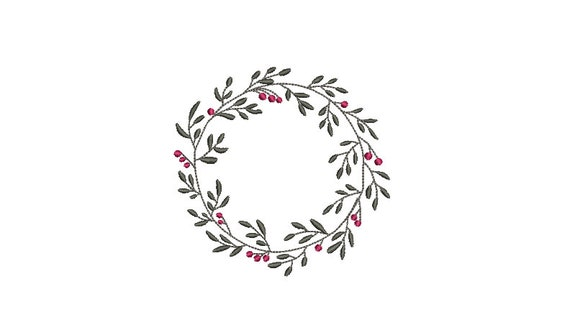Christmas Embroidery Design - Holly Leaf Wreath - Machine Embroidery File - design 4x4 inch hoop - Monogram frame