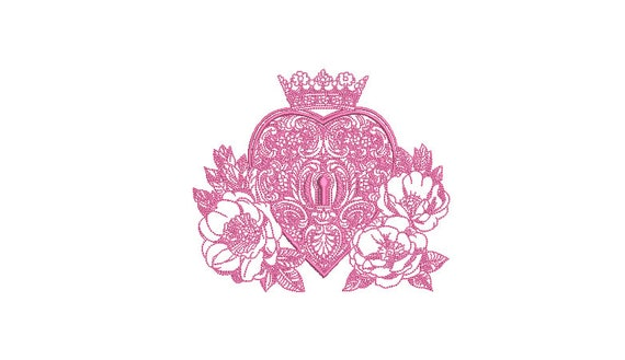 Filigree Lace Heart Lock Machine Embroidery File design -  5 x 7 inch hoop - 13x18cm hoop