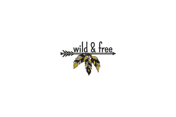 Wild & Free Feathers Arrow Bohemian Machine Embroidery File design 4x4 hoop - instant download
