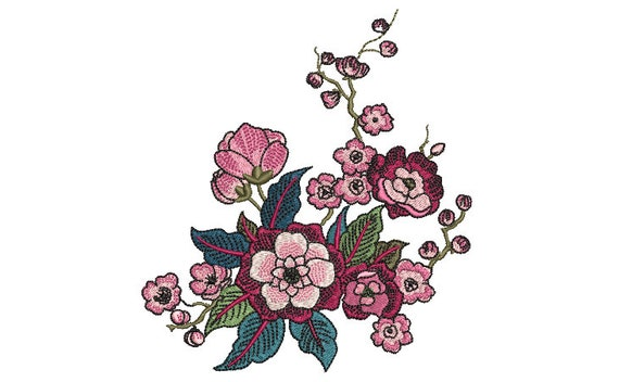 Chinoiserie Floral - Machine Embroidery File design  - 5 x 7 inch hoop - instant download