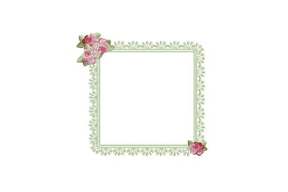 Rose Lace Frame Machine Embroidery File design 5x7 inch hoop - Monogram Frame