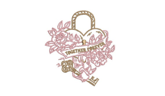 Together Forever Machine Embroidery File design -  4 x 4 inch hoop - Heart embroidery design