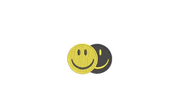 Double Smiley Embroidery Design - Mini 5cm Embroidery File design - 4x4 hoop - Smilie Design
