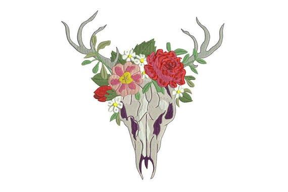 Boho Gypsy Flower Crown Skull Bohemian Machine Embroidery File design 8x12 hoop
