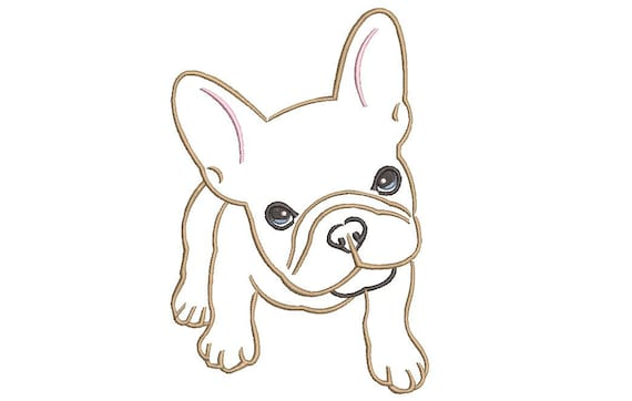 French Bulldog Machine Embroidery File design - 5x7 inch hoop - Frenchie Embroidery