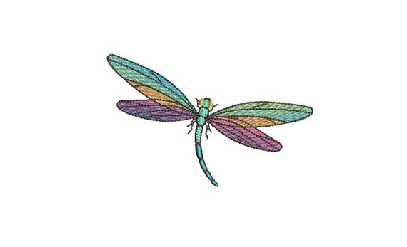 Dragonfly embroidery - Machine Embroidery File design - 4 x 4 inch hoop - Rainbow Dragonfly Embroidery Design