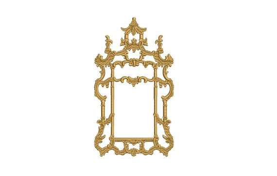 Chinoiserie Chic Monogram Gold Frame - Machine Embroidery File design - 5x7 hoop