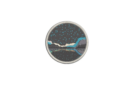 Lake Night Patch Embroidery Design - Hiking Embroidery Design -  Machine Embroidery File design 3 x3 inch hoop