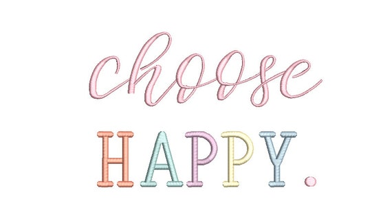 Choose Happy Machine Embroidery File design  - 8 x 8 inch hoop - Rainbow Embroidery Design