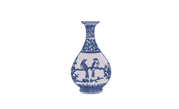 Chinoiserie Vase - Filled Machine Embroidery File design  - 4x4 inch hoop - Ginger Jar
