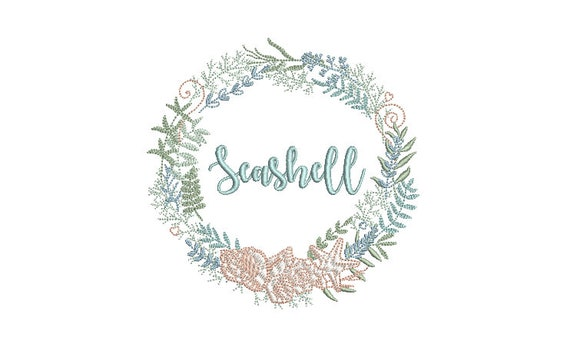 Shell Wreath Machine Embroidery File design - Seashell Flower Wreath -  5x7 inch hoop - monogram frame - instant download